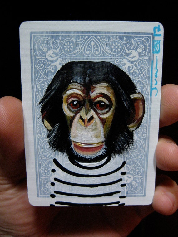 Chimpanzee portrait N14 on a playing cards. Original acrylic painting. 2012