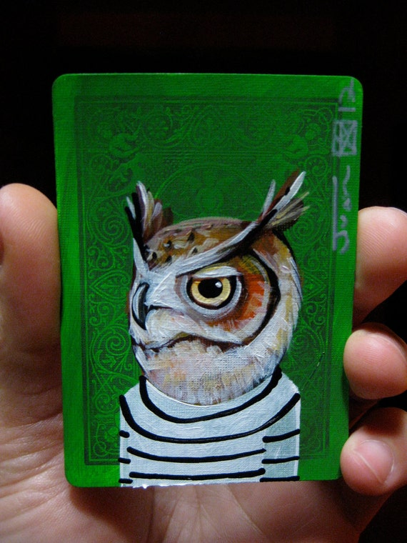 Great Horned Owl portrait N37 on a playing cards. Original acrylic painting. 2012