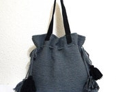 Knit Tote Handbag - wool handknit with genuine black suede leather Fall Winter Fashion
