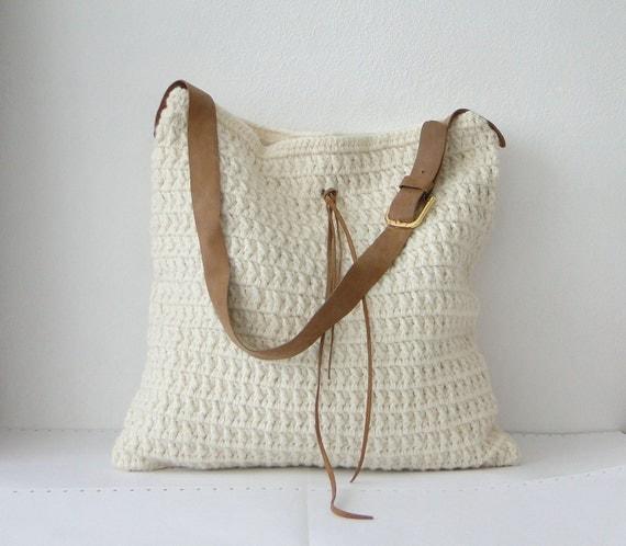 Crochet wool hobo bag