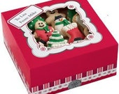 Festive Red Christmas Cookie Boxes with Labels and Box Seals (Set of 3)