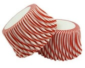 100 Red and White Stripe Cupcake Liners