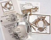 Owl Cookie Cutter with Ribbon Recipe Card - Made in USA