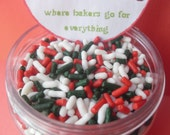 Christmas Sprinkle Mix - Red, Green and  White Jimmies (4 ounces)