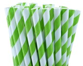 50 Lime Green Stripe Party Straws, Lime Green Wedding Straws, Party Favors, Drinking Straws, with Printable DIY Flag Template