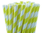 Yellow Striped Paper Straws, Party Straws, Party Favors, with Printable DIY Flags (100 count)