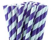 50 Purple Stripe Party Straws, Wedding Straws, Purple Drinking Straws, Purple Favor Straws with Printable DIY Flag Template