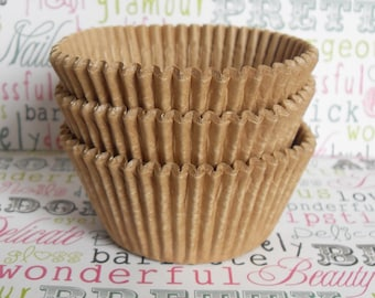 Natural Unbleached Kraft Brown Cupcake Liners, Unbleached Natural Baking Cups - Professional Grade, Greaseproof - (500) count