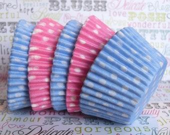 60 Gender Reveal Polka Dot Cupcake Liners, Blue and Pink Polka Dot Cupcake Liners, Baby Shower Cupcake Liners, First Birthday Cupcake Liners
