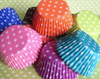 60 Polka Dot Cupcake Liners,  Polka Dot Baking Cups, Professional Grade and Greaseproof