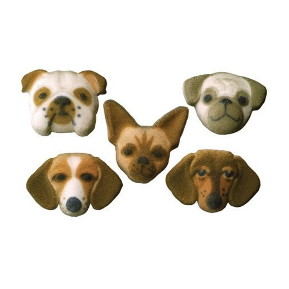 Digging Dog Cake Decoration : Items similar to Dog Edible Sugar Decorations for Cupcake ...