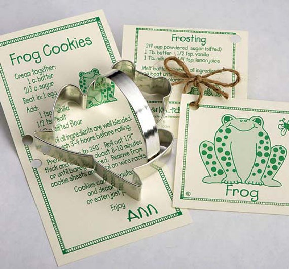 "Frog ""Prince"" Cookie Cutter with Ribbon Recipe Card - Made in the USA"