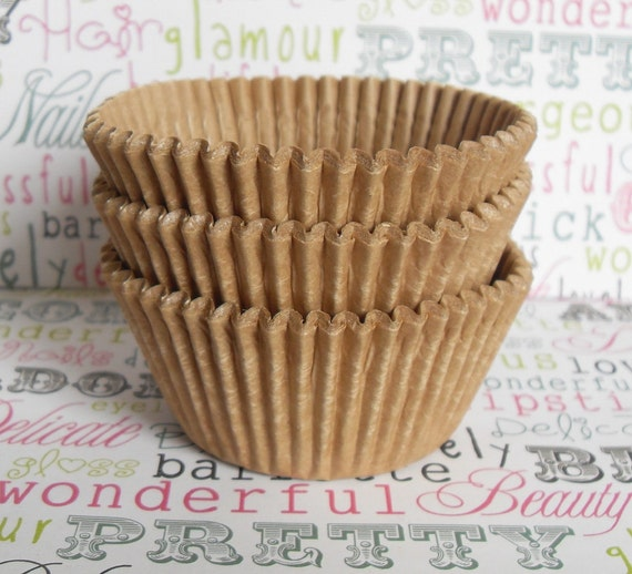 250 BULK Natural Unbleached Kraft Brown Cupcake Liners, Professional Grade and Greaseproof
