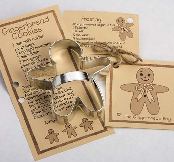 Gingerbread Boy Cookie Cutter with Ribbon Recipe Card - Made in the USA