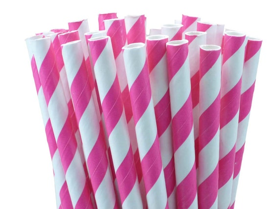 Hot Pink Striped Paper Drinking Straws with Printable DIY Party Flags (100 count)