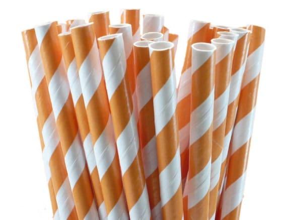 50 Orange Stripe Party Straws, Orange Stripe Drinking Straws, Birthday, Graduation, Wedding Stripe Straws