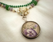 Vintage Necklace with Purple Pansy