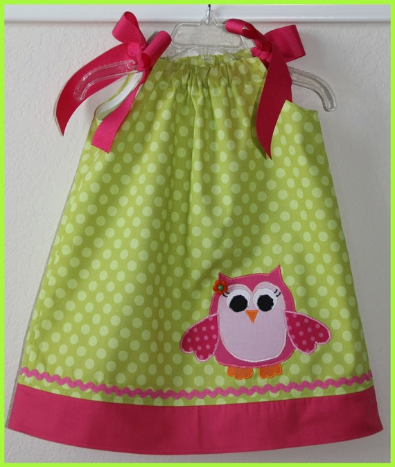 Items similar to Custom Super Cute Owl Applique Pillowcase style dress 3m-5t on Etsy
