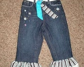 Blue & Brown Vintage Looking Ruffle 5T Jean Pant with matching belt/head band
