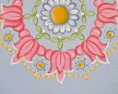 8 x 10 Handpainted Mandala (Soft Blue), Canvas Painting, Ready for framing