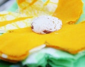 Garden Fresh Androsia Flower Hair Clip - shades of green and yellow