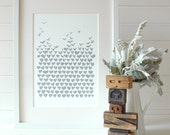 Love Floats, grey, hand pulled screen print, limited edition