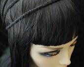 Crocheted Black 3 Row Headband