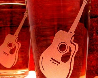 Guitar Etched Pint Glasses