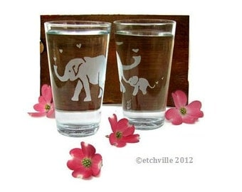 Elephant Glass- Two Etched Pint Glasses