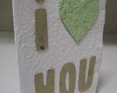 I Love You handmade paper card with envelope