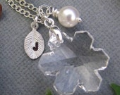 Crystal Snowflake PERSONALIZED necklace in Sterling Silver. CUSTOM Initial.