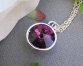 LOVE SALE Amethyst Swarovski rivoli crystal necklace in STERLING Silver.