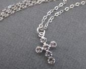 LOVE SALE Tiny Swarovski Crystals Cross sterling silver necklace