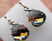 LOVE SALE Peacock sterling silver Swarovski briolette earrings