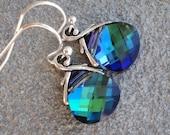 LOVE SALE Peacock, aqua sphinx sterling silver SMALL Swarovski briolette earrings