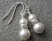 LOVE SALE Swarovski Pearls and Rhinestones sterling silver earrings