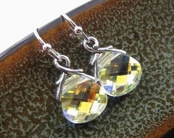 LOVE SALE Crystal AB sterling silver Swarovski briolette earrings