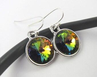 Rainbow Vitrail Medium Swarovski rivoli crystal earrings