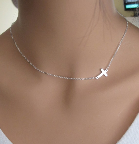 LOVE SALE SALE 40% Off Sideways Cross in Sterling Silver Necklace inspired by Taylor Jacobson Vanessa Hudgens Miley Cyrus