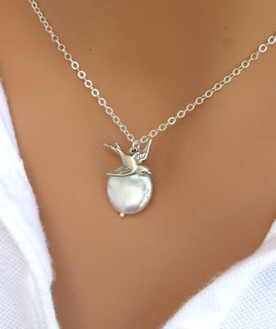 LOVE SALE Coin pearl and sparrow bird necklace in silver. Bridesmaids Gift. Wedding Necklace.