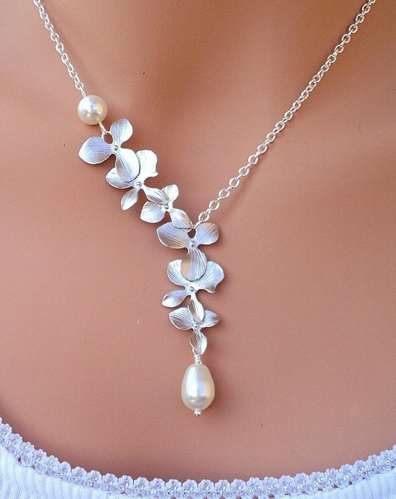 LOVE SALE Silver Matte Orchids and Swarovski Pearl necklace in sterling silver.