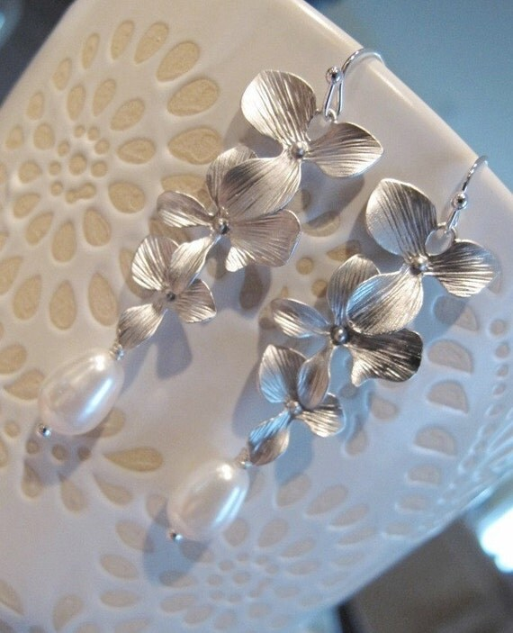 LOVE SALE Sanari - Matte Silver Orchids and Swarovski Pearl sterling silver earrings