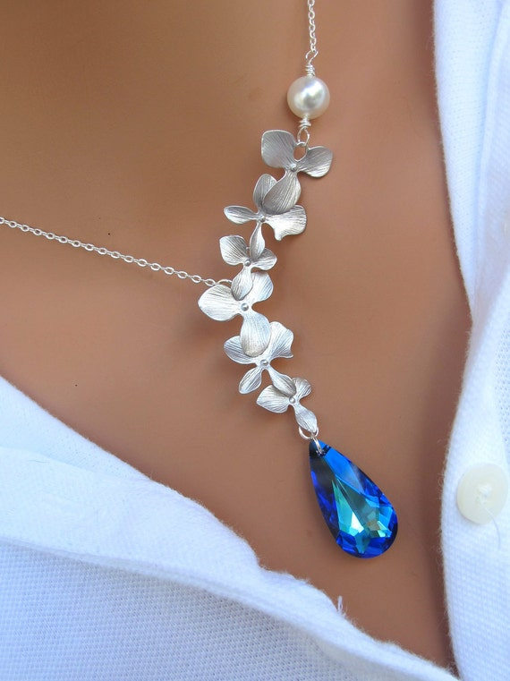LOVE SALE Peacock and Orchids sterling silver necklace. Bridal. Wedding. Bridesmaids Gift.