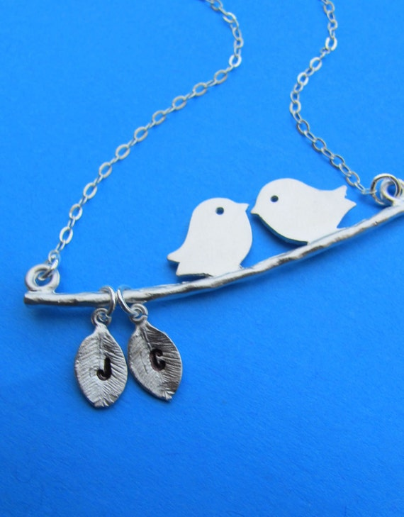 Two Love Birds with two Initial letters on the leaf Personalized STERLING SILVER necklace