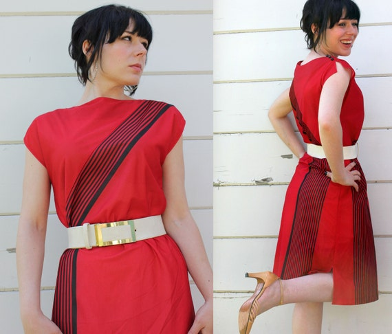 80s DRESS vintage red striped body con with belt c446
