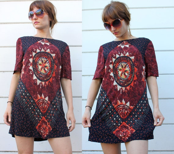 vintage TUNIC DRESS tribal sun dashiki S c471