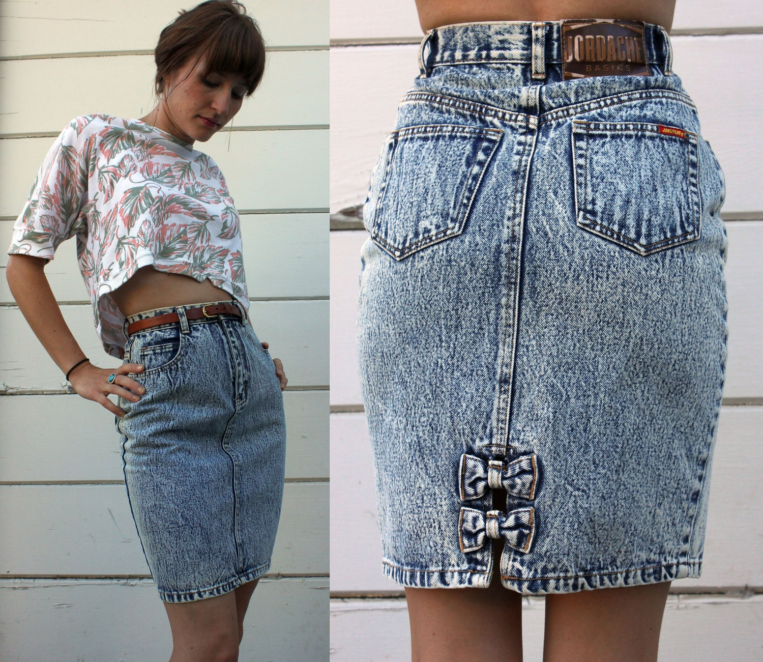 80s high waist jean skirt acid wash with bows xs c470