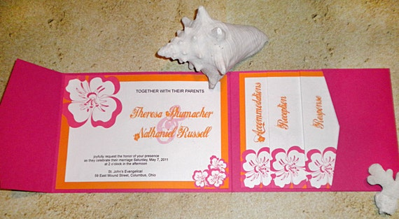 Items Similar To Pink Orange Destination Tropical Wedding Invitation On Etsy