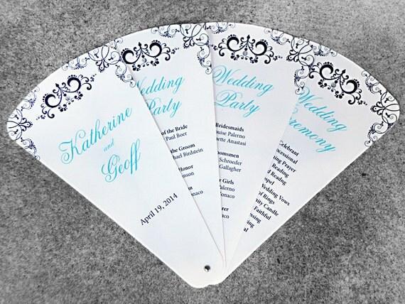 Brown & Blue 6-Petal Wedding Program Fan