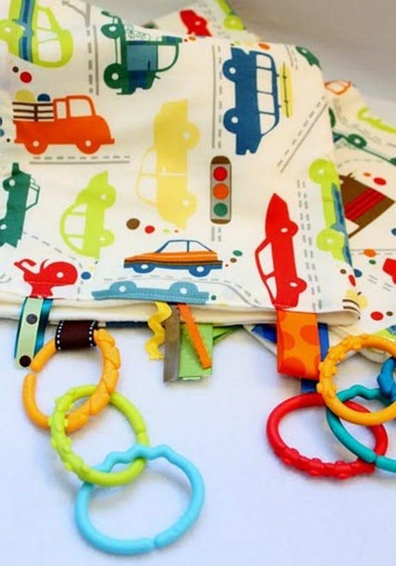18x31 Alexander Henry rush hour Playful Handmade Ribbon Blankie for Baby Boy